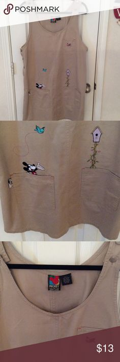 Mickey and Friends ladies jumper Adorable khaki jumper with Mickey and his friends.  2 front pockets.  Looks brand new!  Size large from Mickey Unlimited Mickey Unlimited Dresses