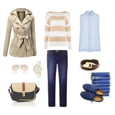 Preppy for Helen. Beige, blue & navy. Jeans & stripes. by harmoniq