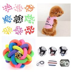 Pet Nail Caps Vest Puppy Chew Toys Colorful Rubber Doggy Traction Belt