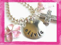 Flower Girl - Wedding Pink Flower and Cross - Necklace for Girls