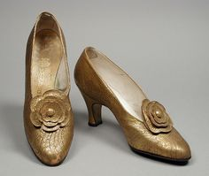 1928, France - Pair of Woman's Pumps by N. Greco - Leather, ink
