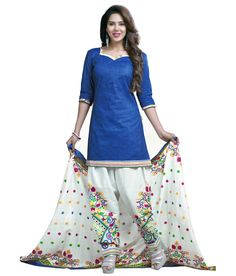 Cotton+Lace+Work+Blue+Plain+Unstitched+Patiala+Suit+-+F315 at Rs 499
