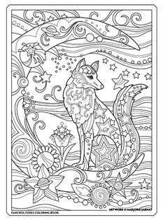 Fanciful Foxes Has 31 Illustrations For You To Color With Beautifully Adorned Drawn As Portraits And In Themed Settings Fox Families Are Surrounded