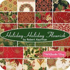 Holiday Holiday Flourish 10 inch Squares<BR>Robert Kaufman Fabrics ...
