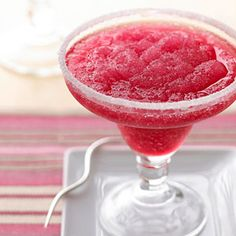 Icy Cranberry Margarita Made with cranberry juice, you could serve this summery cocktail during the winter holidays, too.