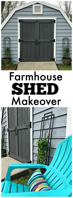 Farmhouse Shed Makeover -- an easy way to create MyOutdoorOasis Lowe's ideas diy ideas hangout ideas interior ideas painted ideas storage ideas workshop Outdoor Storage Sheds, Outdoor Sheds, Shed Storage, Book Storage, Small Storage, Shed Makeover, Backyard Makeover, Blue Shed, Shed Ramp