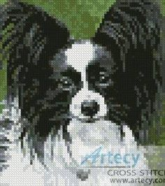 Mini Black and White Papillon - cross stitch pattern designed by Tereena Clarke. Category: Dogs.