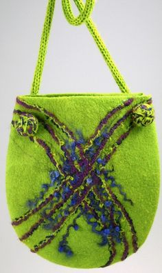Beautiful Chartreuse Hand-felted bag.  #CruiseInChartreuse