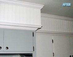 Soffit disguised with crown molding and beadboard. Kitchen Soffit, Kitchen Redo, Kitchen Design, Ranch Kitchen, Kitchen Makeovers, Kitchen Ideas, Soffit Ideas, Updated Kitchen, Kitchen Colors