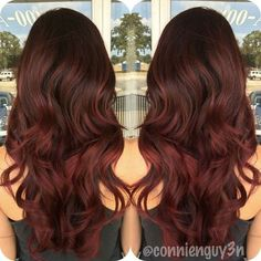 dark brown to marsala ombre hair, Balayage freshened up her color all over with a violet red,