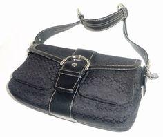 Coach Buckle Silver Tone Hardware Shoulder Bag