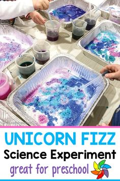 A fun hands-on science activity for preschoolers that involves creating unicorn fizz. Students get to practice their fine motor skills with this spring activity. This preschool science experiment only requires a few supplies making it easy and budget friendly. Students get to explore and use their creativity with this activity. You can set this up as a center and do this in small groups or as a whole class. Let the exploration begin! Sensory Activities For Preschoolers, Science Experiments For Preschoolers, Spring Activities, Color Activities, Hands On Activities, Sensory Bottles, Sensory Bins, Sensory Play, Baking Soda Experiments