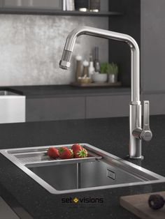 Always consider your taps when renovating your kitchen! This modern design is perfect for the  professional home chef with an industrial interior design scheme. The detachable hose is perfectly designed to wash fruit and veg.