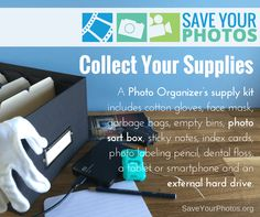 Photo organizing supplies recommended by the pros. Organization Hacks, Organizing Tips, Cotton Gloves, Index Cards, Love My Family, Video Film, Family Memories, Sticky Notes, Save Yourself