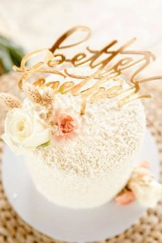 Don't miss the gorgeous cake covered in white sprinkles and topped with fresh flowers and a gold-lettered topper at this tropical boho bridal shower! See more party ideas and share yours at CatchMyParty.com Bridal Shower Cakes, Bridal Shower Party, Baby Shower Cakes, Birthday Parties, Birthday Cake, Rustic Cake, Cake Cover, Holiday Cakes, Gorgeous Cakes