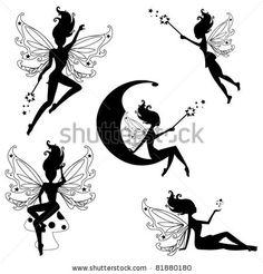 stock vector : Cute fairies silhouettes