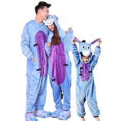 5c3ccfb697 Christmas Family Matching Blue Eeyore Donkey Kigurumi Onesies Costume  Pajamas