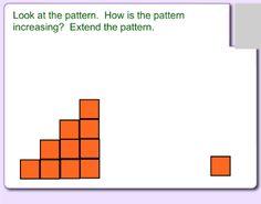 Extend increasing patterns using manipulative materials. 1st Grade Math, Grade 2, First Grade, Math Patterns, Pattern Grading, Mathematicians, Math Classroom, Sorting, School Stuff