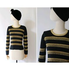 1970 french Sweater black & gold lurex stripes / 1970 gold sweater / 70s stripes sweater