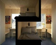 Bunk beds design and room ideas. Most amazing bunk beds for kids. Designing bunk beds that you might like. Small Apartments, Small Spaces, Small Kids Rooms, Small Dorm, Kid Spaces, Sibling Bedroom, Siblings Sharing Bedroom, Student Room, Bunk Bed Designs