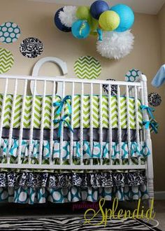 Proof positive that baby blue can be part of a neutral nursery  http://www.unique-baby-gear-ideas.com/paper-lanterns-and-polka-dots-nursery.html