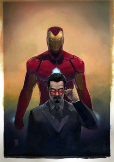 This shows the two different sides to iron Man, one as the normal day to day man -Tony Stark businessman and the other his superhero self iron Man. Again this links to my work as i will be using Iron Man as part of my characters story. Marvel Comics, Marvel Dc, Marvel Heroes, Marvel Characters, Captain Marvel, Captain America, Captain Hydra, Sweet Shirt, Les Innocents