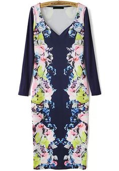 Blue V Neck Long Sleeve Floral Bodycon Dress 20.83