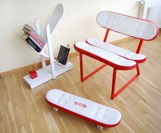 Móveis feitos a partir de skates