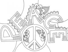 Preschool Doodle Art Coloring Page Of Peace Sign