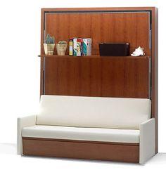 sofá blanco con estante de libros transformando en cama