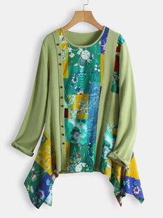 Gracila Vintage Jacquard Patch Random Print Half Button Long Sleeve Hoodies can show the feminine elegance well, get best women Hoodies & Sweatshirts online. Short Sleeve Blouse, Long Sleeve Shirts, Cheap Blouses, Themed Outfits, Loose Shirts, Printed Blouse, Casual Shirts, Kimono Top, Floral Prints