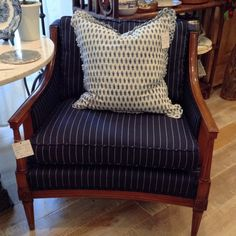 Mid Century Modern Henredon Club Arm Chair in Navy by FMFCompagnie