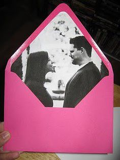 Engagement photo envelope liners!  ADORABLE!