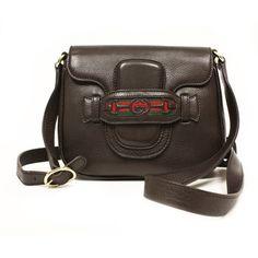 GUCCI 296854 Gucci Dressage Brown Leather Crossbody Shoulder Bag - LuxuryProductsOnline