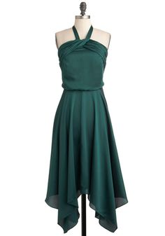 Spruce or Dare Dress - Long, Green, Solid, Formal, Halter, Fall, Holiday Party, Film Noir, Vintage Inspired, Luxe