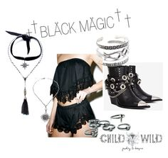 """""""BLÅCK MÅGIC"""" by child-of-wild ❤ liked on Polyvore featuring Milk the Goat, Child Of Wild, Jeffrey Campbell and vintage"""