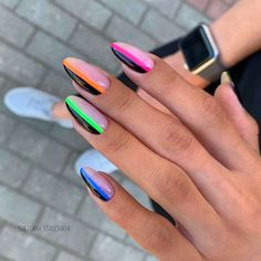 Totally Hip Summer Nail Designs Your Friends Will Envy Acrylic Nail Tips, Summer Acrylic Nails, Summer Nails Neon, Cute Nails, Pretty Nails, Fancy Nails, Nail Art Designs, Manicure, Uñas Fashion