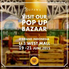 Visit our pop up store! #Rupawa #Bazar #Fashion #Style #Shopping #Kaos #Desain #Custom #Design #Sale #TShirt #Tees #PopUpStore #Cool #Booth #GrandIndonesia #VacanzaUniversity