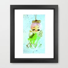 A Green Angel Framed Art Print by Vintage  Cuteness - $31.00 #vintage #green #angel #pink #dreamy #whimsical #art #print #kitsch #kawaii #girl #angelic #nursery #magical #baby #children #christmas #noel #winter #tree #halo #sweet