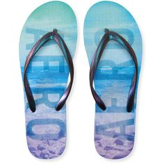 Deep Sea Aero Flip-Flop ($4.87) ❤ liked on Polyvore featuring shoes, sandals, flip flops, purple beach, synthetic shoes, aeropostale flip flops, beach shoes, shiny shoes and aéropostale