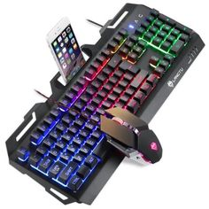 Wired Semi Mechanical Keyboard Gaming with Backlit and Mouse, no Conflict, Waterproof Teclado Gamer - Technology Shop Keyboard Keys, Keyboard Typing, Gaming Desk Setup, Pc Setup, Feelings Games, Game Room Design, Best Cell Phone, Gaming Accessories, Airpod Case