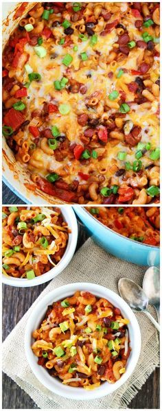 One Pot Vegetarian Chili Mac Recipe on http://twopeasandtheirpod.com This quick and easy one pot meal is a family favorite! It is great for busy weeknights or game day!