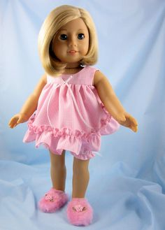 f913f07d5d 18 Inch Doll Clothes - Shortie Pajamas - Pink and White Gingham - Fits American  Girl Dolls