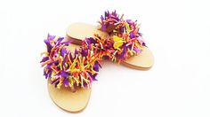 Womens Leather Flip-Flops. Butterfly With Swarovski Crystals. Flat & Round Ribbons With A Hard Wearing Sole.  Makes An Ideal Gift