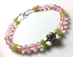 Faceted Pink Tourmaline, Peridot, Karen Hill Tribe Carved FocalBead Solid Sterling Spring Love! by CatchyTreasures on Etsy
