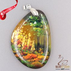 STUNNING NECKLACE HAND PAINTED SCENERY GEMSTONE PENDANT BEAD ZL8013293 #ZL…