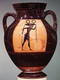 Terracotta amphora (jar) Attributed to a painter of Group E Period: Archaic Date: ca. Culture: Greek, Attic Medium: Terracotta Dimensions: H. cm) diameter 5 in. Ancient Greek Art, Ancient Greece, Ancient History, Mycenaean, Minoan, Historical Artifacts, Ancient Artifacts, Archaic Greece, Greek Pottery