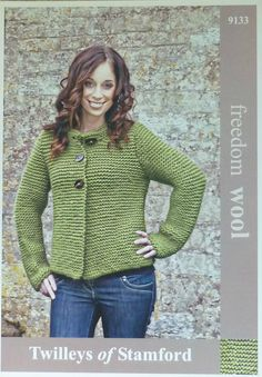 Knitting pattern for Ladies Long Sleeve Jacket in Super Chunky by Twilleys (No.9133). Jacket is worked in Garter stitch (every row knit) on