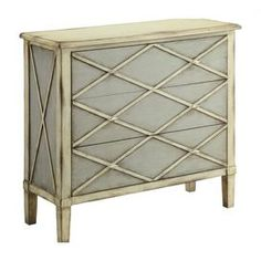 $513.95 Ivory and gray chest with diamond network detail.   Product: ChestConstruction Material: MDFColor: Gray and ivoryFeatures: Three drawersDimensions: 39 H x 42 W x 16 D