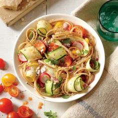 No-cook veggies make this easy dish a weeknight favorite. Peeling zucchini and squash into ribbons makes them fun to eat for kids.